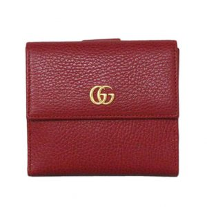 GUCCI  グッチ  プチマーモント フラップ フレンチウォレット   456122 ・496334  レッド/赤   63